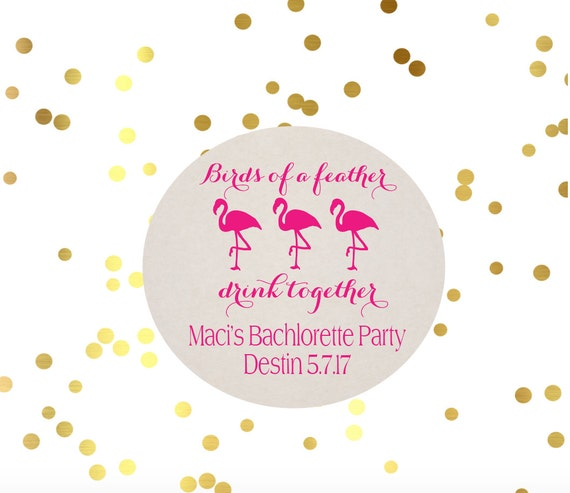 Bachelorette party favors, Flamingo coasters, personalized coasters, birthday party favor, paper coasters, pink flamingos, beach party