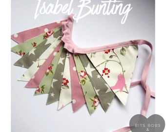 Isabel Bunting - Fabric Bunting - Nursery Decor/ Kids Bedroom Decor/ Playroom Decor/ Girls Bunting