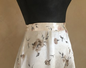 Vintage 70's Satin Skirt Rose Print Floral Skirt
