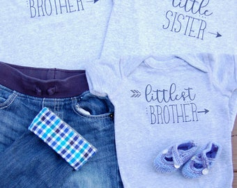 Sibling shirts set of 3- big little littlest- brother sister- baby toddler children's shirt onesie- family photos- baby announcement outfits