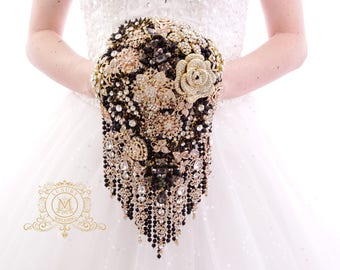 Rose gold and black BROOCH BOUQUET in waterfall cascading teardrop gold  Great Gatsby style, jeweled with rose design brooches for wedding