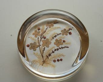 Dried Flowers  Paperweight, Vintage Paperweight,