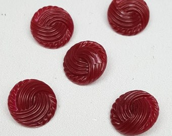 5 vintage sewing buttons cranberry red plastic textured swirls shank back 1/2-inch