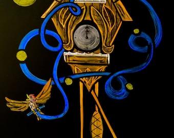 Cuckoo clock done in colored chalk