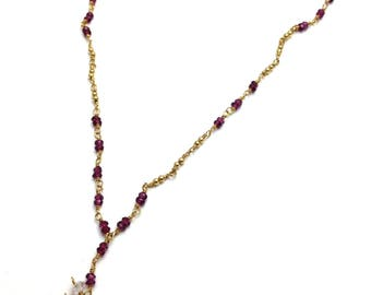 Blue Topaz and Garnet Necklace in 14k Gold Fill  - 514