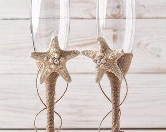 Champagne Glasses Nautical Wedding Toasting Flutes  Beach Wedding Flutes Bride and Groom Glasses with Starfish and Seashells