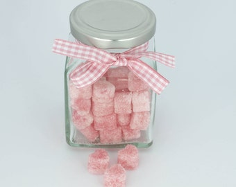 Rose Petal Flavored Sugar Cubes - Pink Heart Sugar Cubes, Glass Jar for Tea Party,Bridal Shower, Champagne Toast, Baby Shower, Party Favor