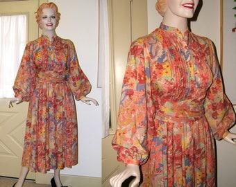 Vintage Albert Nipon Dress   Boho Dress   Floral Dress with Long Sash   Long Small Summer Dress