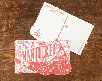 Nantucket Postcard, Greetings from Nantucket, Die Cut Letterpress Postcard