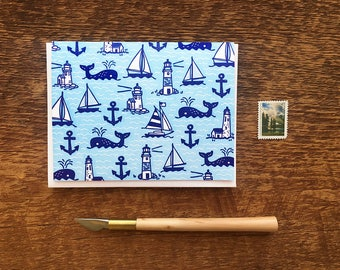 Whales & Sails, Letterpress Note Card, Blank Inside