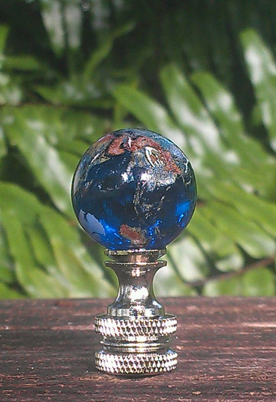 Finial Lamp Blue Glass Globe Round Marble Lampshade World
