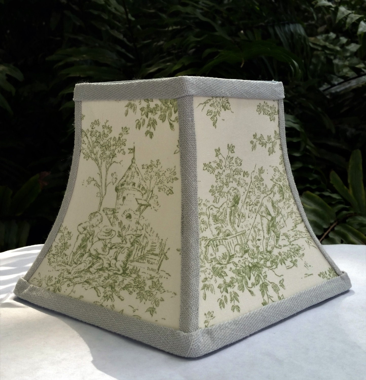 Toile Lampshade Chandelier Square Bell Mint Green OffWhite – Toile Chandelier Shades