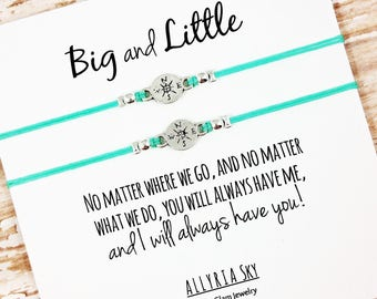 "Set of Two Big Little Sorority Sister Charm Bracelets with ""No Matter Where We Go"" Card 