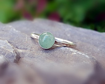 Aventurine Ring Green Aventurine Ring Sterling Silver Stacking Ring Green Stone Ring