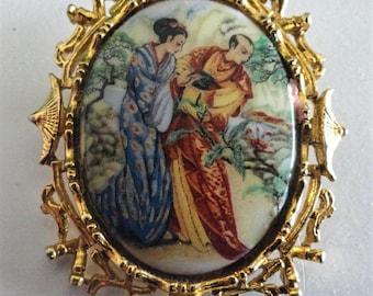 Vintage Oriental Cameo Brooch Signed ART