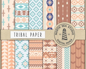 NATIVE AMERICAN, Tribal Digital Paper, Tribal Backgrounds, Aztec Patterns, Tribal Paper, American Native Patterns, BUY5FOR8
