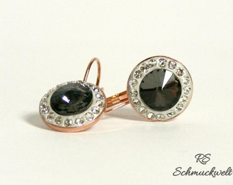 Earrings Crystal Entourage rose gold hanging earrings Halo around crystals pottery gift engagement bridesmaid wedding black white