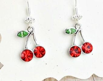 Cherry Earrings, Rockabilly Cherry Earrings, Rhinestone Cherries Earrings, Cherry Charm Earrings, Cherry Dangle Earrings, Silver Earrings