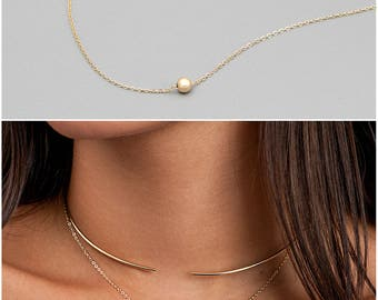 Simple Circle Necklace - Ultra Dainty Necklace - Gold, Silver, Rose - Gold Ball Necklace - Simple Everyday Necklace - Tiny Circle Necklace