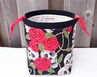 Sock Knitting Bag in Skulls and Roses print, two at a time knitting, Knitting Tote, Drawstring Bag, Project Bag - Small Socksack
