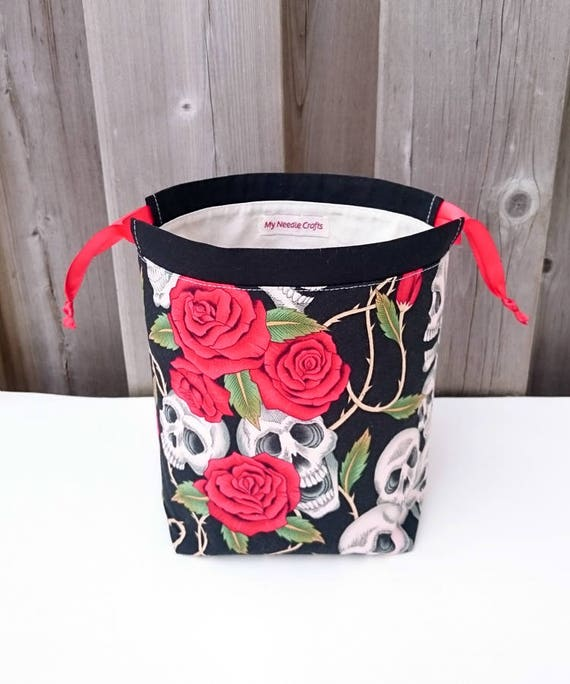 Sock Knitting Bag in Skulls and Roses print, two at a time ...