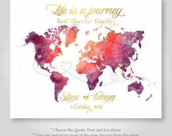 personalized custom world map wedding guest book watercolor save the date invitation jpg pdf love anniversary gift PRINTABLE DIGITAL print