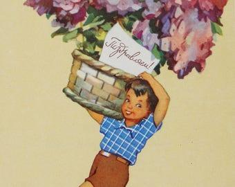 Congratulations - Illustrator G. Bedarev - Used Vintage Soviet Postcard, 1958. Sovetskiy hudozhnik Publ. Boy, Basket of flowers, Print