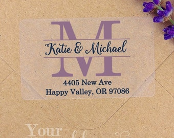 Custom Initial Clear or White Labels, Wedding Labels, Return Address Sticker, Wedding Sticker, Wedding Favors, Return Address Labels, Stamp