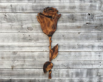 Wooden rose wall art. Flower Wall Decoration. Hand Carved Wood Rose Flower. Wood burning gift idea for her...