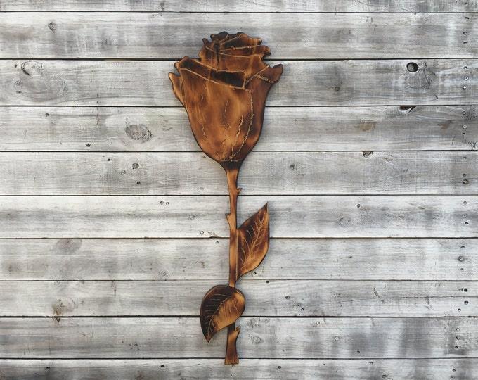 Wooden rose wall art/Flower Wall Decoration/Hand Carved Rose Flower/ Gift idea for her...