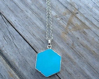 Hexagon Howlite Turquoise Necklace, Teal Necklace, Stone Necklace, Gifts for her, Hexagon necklace