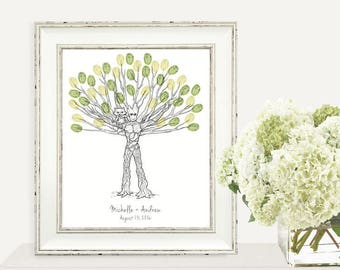 Groot and Rocket Custom Thumbprint Fingerprint Wedding Tree Guest Book Print - Digital File Only