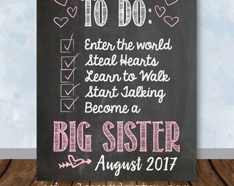 Pregnancy Announcement Chalkboard Sign, To Do List, Big Sister Announcement, August 2017 - Digital File Jpeg and PDF
