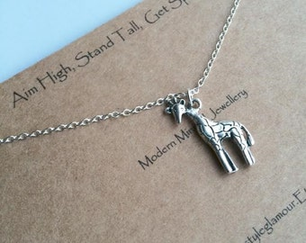 Giraffe Necklace, Giraffe Pendant, SIlver Giraffe Necklace, Charm Necklace