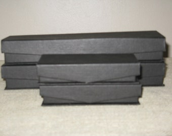 Lot of 4 Black Jewelry Gift Boxes