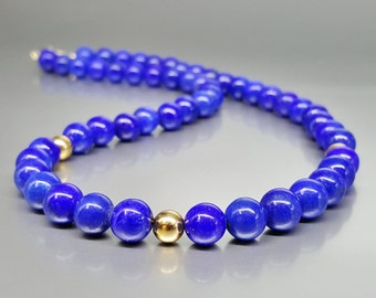 Necklace of high quality Lapis Lazuli with 14K gold beads - solid gold - natural royal blue Lapis - beaded classic jewelry - gift Christmas