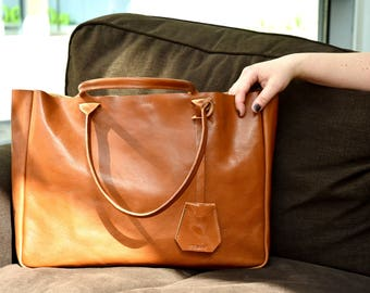 Camel Brown Leather Tote Bag - Handmade Leather Tote - BELLA Medium