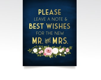 The FRANKIE . Wedding Guestbook Sign . Leave your Best Wishes . Gold Navy Chalkboard Pink White Rose Bouquet. PRINTED table sign or PDF