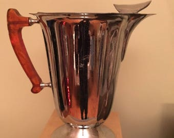 Vintage Midcentury Chrome Pitcher with Resin Handle