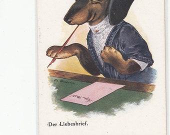 C 1910s Lovely Dachshund Dog Writes A Love Letter To Her Paramour,Antique Postcard,Victorian Style Clothing