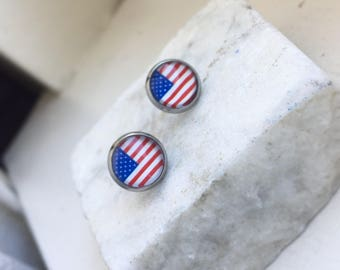 Flag Earrings, American Flag Earrings, Red, White and Blue Earrings, Fourth of July Earrings, Hypo Allergenic, Stainless Steel Earring