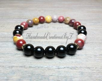 Mookaite & Black Tourmaline Bracelet, Colorful Gemstone, Wrist Mala, Prayer, Meditation, Buddha, Yoga Men Women Brass Jewelry