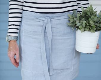 Linen Apron/ Half Apron / Cafe Apron in Greyish Blue