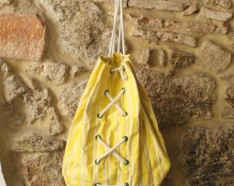 Vintage Stripes backpack, vintage drawstring backpack, cotton drawstring backpack, white yellow stripes, green eyelets drawstring backpack