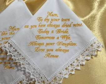 Wedding Handkerchief Gift for Mother of the bride from the Bride Personalized hankie Wedding gift for Mom from daughter