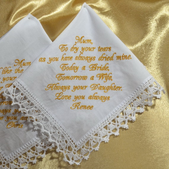 Personalized Wedding Gift For Mom : ... Personalized hankie Wedding gift for Mom from daughter Custom Hanky in