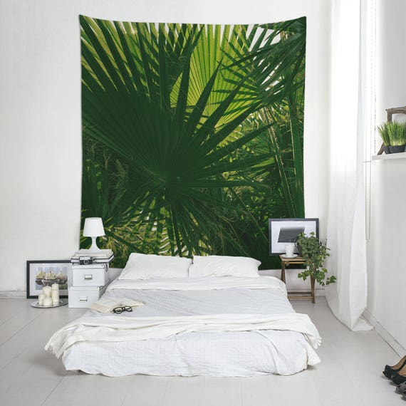 Green Tapestry, Tropical Wall Art, Wall Hangings, Palm Leaves, Green Decoration, Nature Photography
