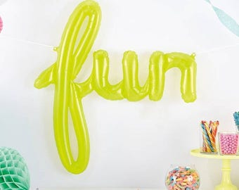 Fun Script Balloon - Party Balloon - Lime Green Balloon - Birthday Balloon - Balloon Banner