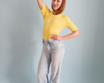 Bright Yellow Ribbed Short Sleeve Sweater /Knit Tee