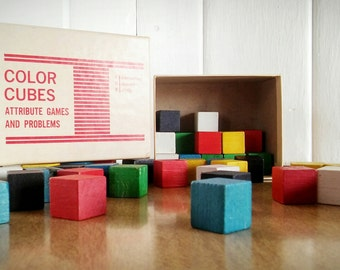 Vintage Wood Color Cubes 1967, Education Development Center Wood Color Cube Vintage